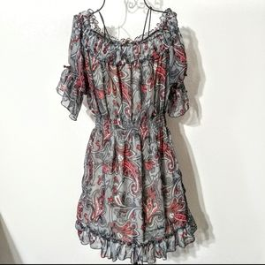 Moon River Floral Paisley Ruffle Stretchy Dress